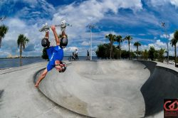 Skateboarder doing amazing trick at the Bradenton Riverwalk Skatepark