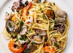 Seafood pasta dish at Isola Bella Italian Eatery in Manatee, FL