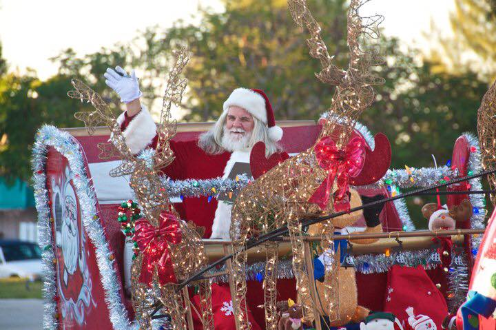 Santa on Christmas Parade in Anna Maria Island