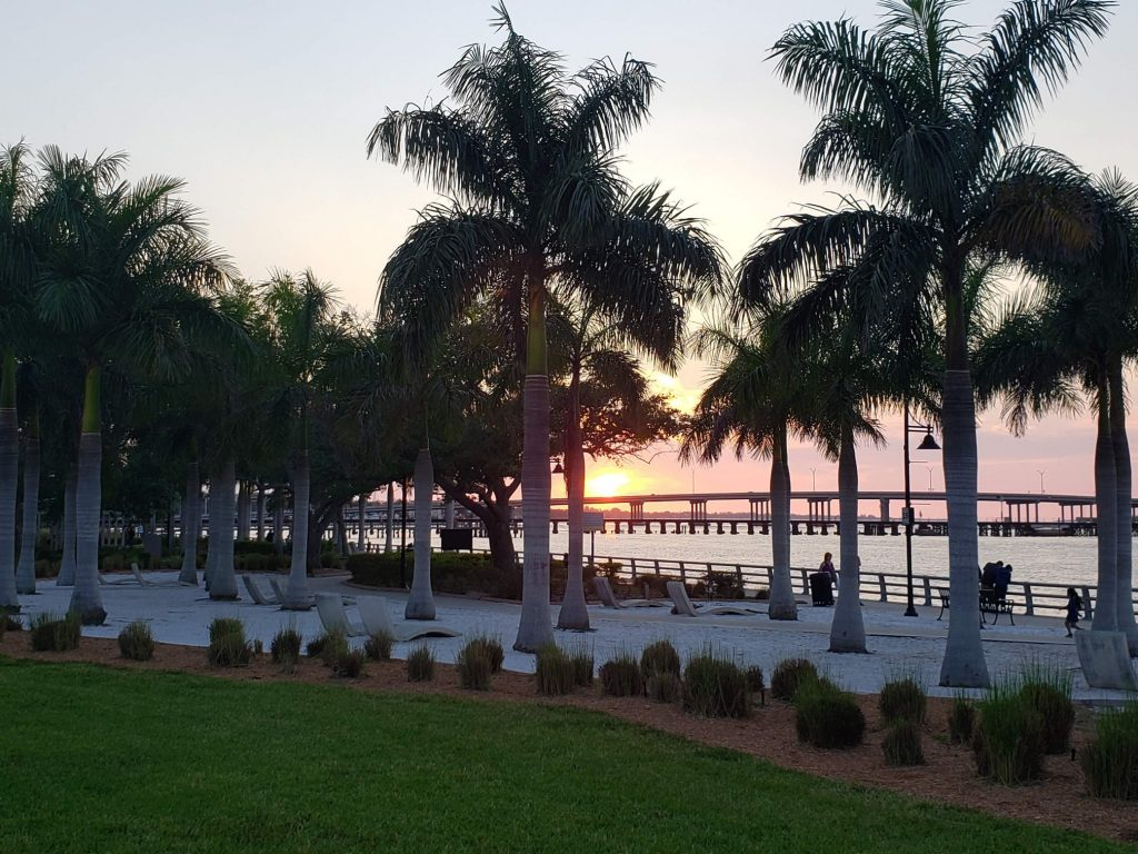 view of the bradenton river walk at sunset