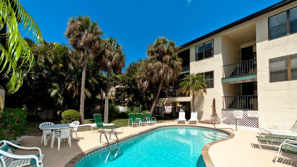 Pool area of condo in Anna Maria, FL
