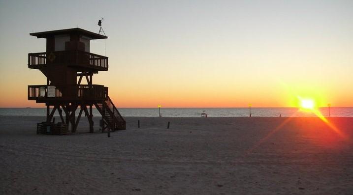 Manatee Beach at sunset