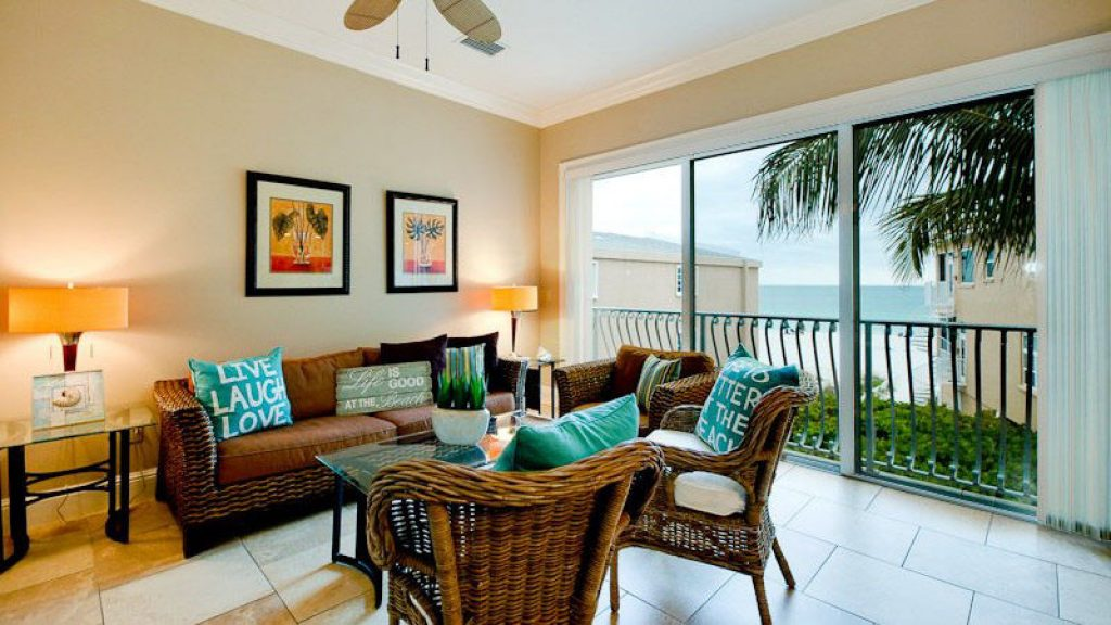 Living room of a condo rental in Anna Maria Island