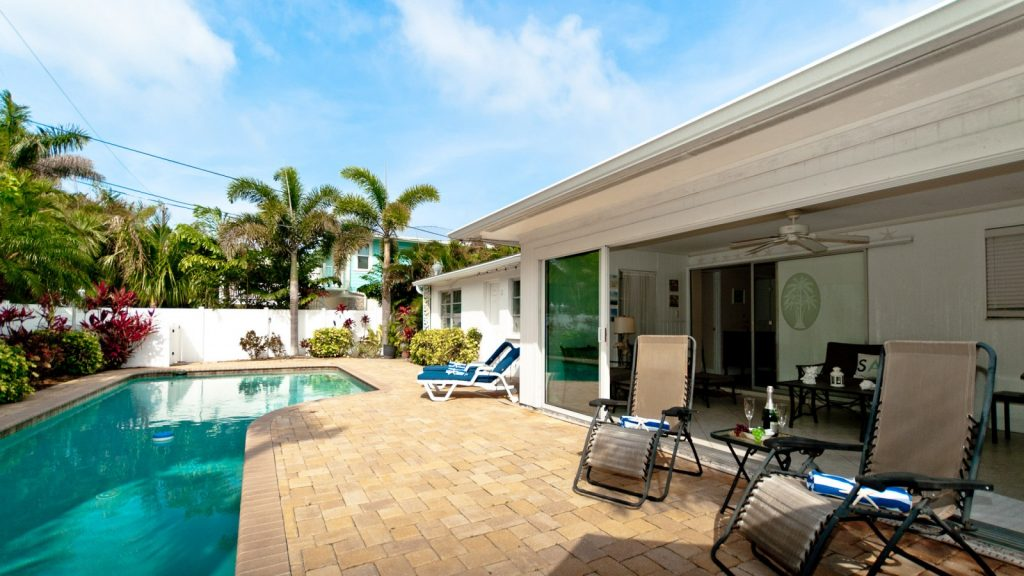 pool area in rental on Anna Maria Island